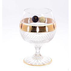 Набор хрустальных бокалов 250 мл ФЕЛИЦИЯ, декор ЗОЛОТЫЕ ОКОШКИ, от Crystal Heart, 6 шт.