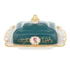 Фарфоровая масленка 250 г с крышкой САНКТ-ПЕТЕРБУРГ, ЗЕЛЕНЫЙ декор от Weimar Porzellan