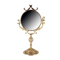 Зеркало настольное 30 см РОЗАПЕРЛА (Rosaperla), золотой декор, высота 67 см