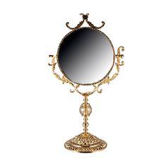 Зеркало настольное 25 см РОЗАПЕРЛА (Rosaperla), золотой декор, высота 63 см
