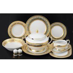 Столовый сервиз из фарфора ARABESQUE SELADON GOLD от Falkenporzellan на 6 персон, 27 предметов